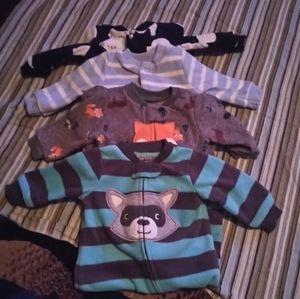 Carter's newborn fleece footed sleepers